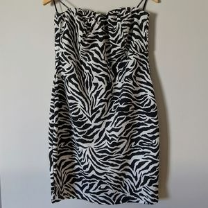 Forever 21+ Zebra Print Strapless Dress